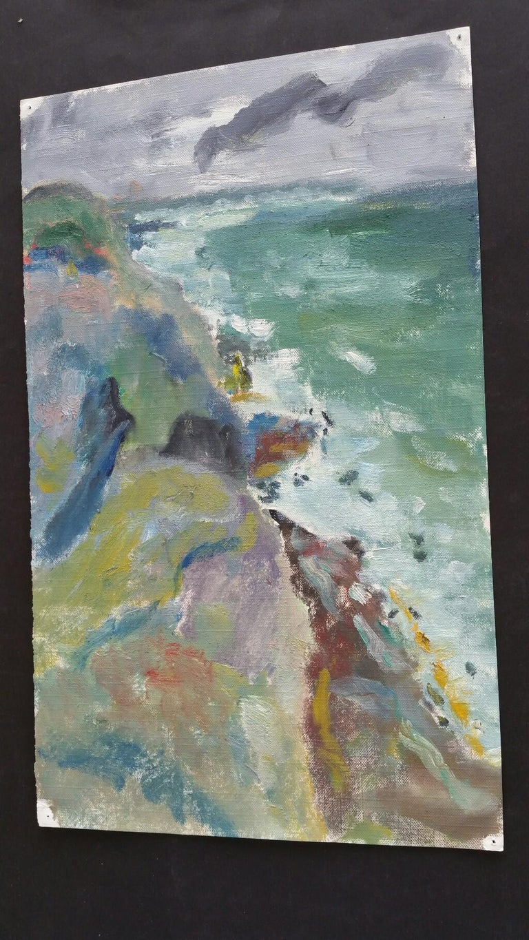 A Rocky Coast in a Storm French School, mid-late 20th century unsigned oil painting on canvas textured paper (reverse side is smooth, the painted side looks and feels as canvas), unframed overall 15 x 9 inches  The surf is crashing onto the base of