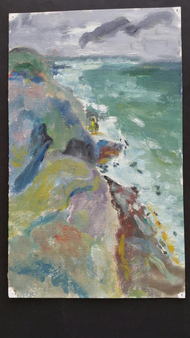 20th Century French Oil Painting A Rocky Coast in a Storm For Sale 1