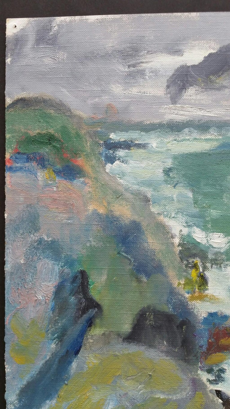 20th Century French Oil Painting A Rocky Coast in a Storm For Sale 4