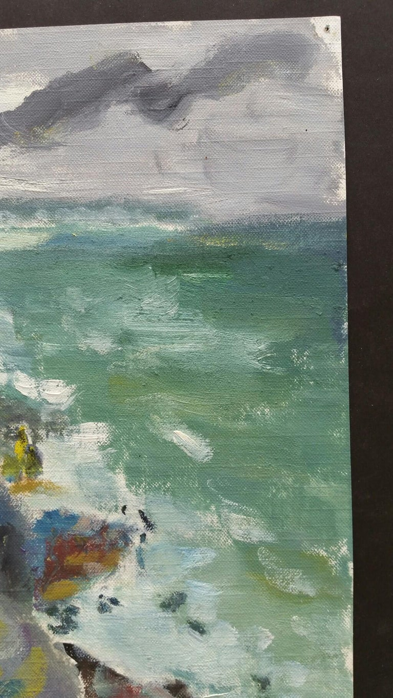 20th Century French Oil Painting A Rocky Coast in a Storm For Sale 5