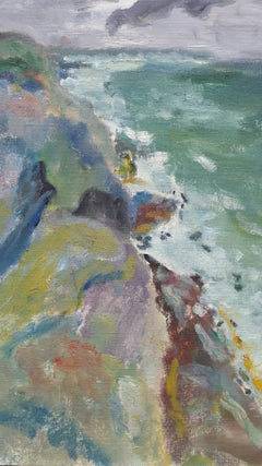 20th Century French Oil Painting A Rocky Coast in a Storm