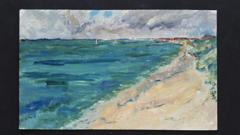A Summer Beach French School, mid-late 20th century unsigned oil painting on canvas textured paper (reverse side is smooth, the painted side looks and feels as canvas), unframed overall 9 x 15 inches  A fine, breezy summer day in the French sun. A