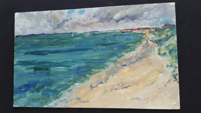 20th Century French Oil Painting A Summer Beach Blue Skies For Sale 1