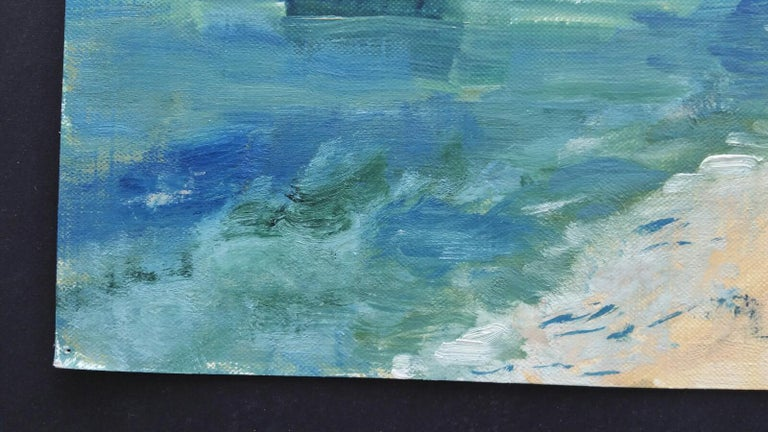 20th Century French Oil Painting A Summer Beach Blue Skies For Sale 2