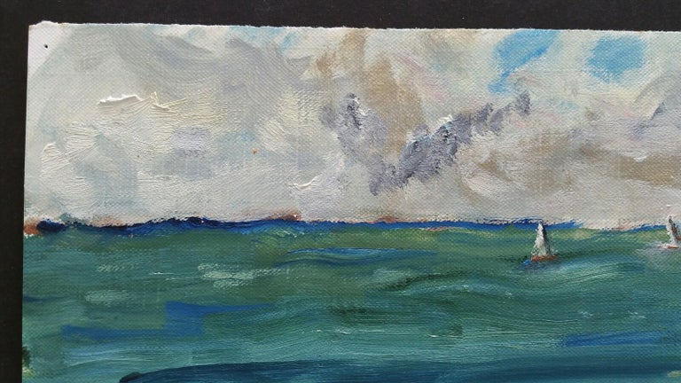 20th Century French Oil Painting A Summer Beach Blue Skies For Sale 3