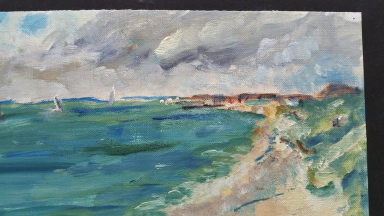 20th Century French Oil Painting A Summer Beach Blue Skies For Sale 4