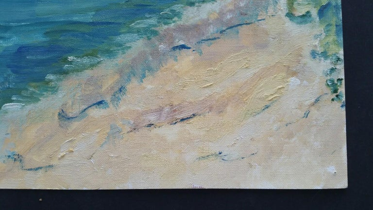 20th Century French Oil Painting A Summer Beach Blue Skies For Sale 5