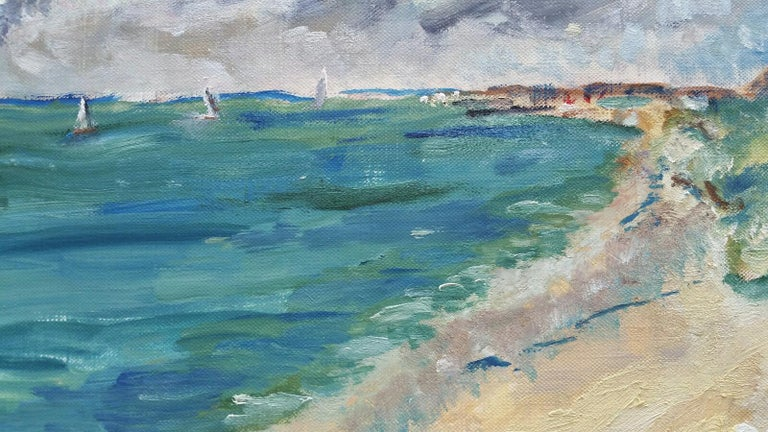 20th Century French Oil Painting A Summer Beach Blue Skies For Sale 6