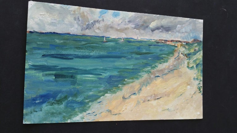 20th Century French Oil Painting A Summer Beach Blue Skies For Sale 7
