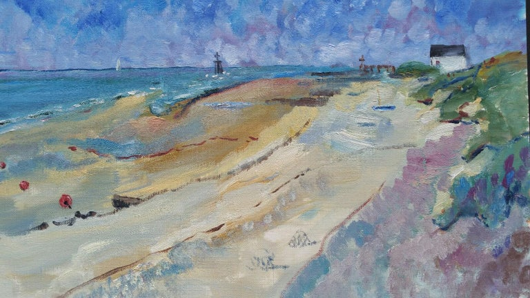 French School Landscape Painting - 20th Century French Oil Painting A Summer Beach Blue Skies