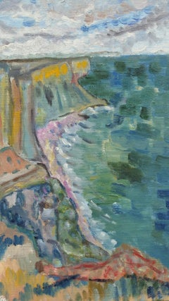 20th Century French Oil Painting A Summer French Coastline
