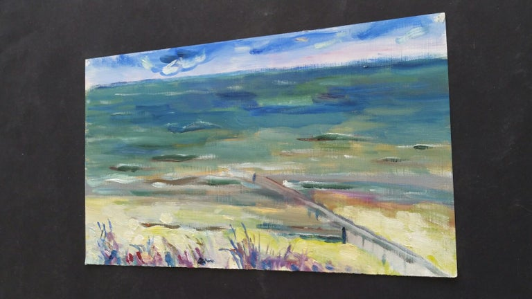 20th Century French Oil Painting A Summer Sea View For Sale 8