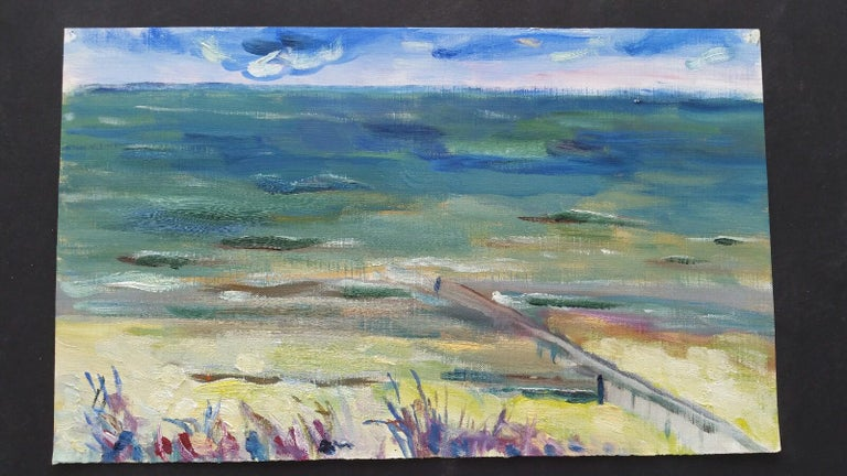 A Summer Sea View French School, mid-late 20th century unsigned oil painting on canvas textured paper (reverse side is smooth, the painted side looks and feels as canvas), unframed overall 9 x 15 inches  The only thing you perhaps need to accompany