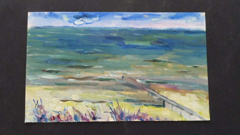 20th Century French Oil Painting A Summer Sea View For Sale 7