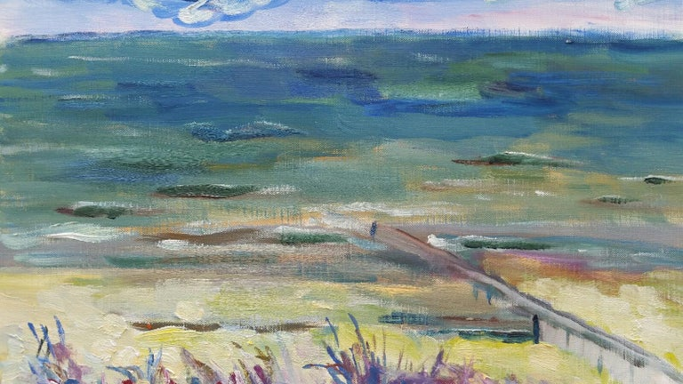 French School Landscape Painting - 20th Century French Oil Painting A Summer Sea View