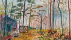 20th Century French Oil Painting A Woodland Cabin