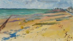 20th Century French Oil Painting Beach Walk on a Cool Day