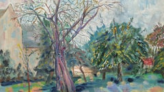 20th Century French Oil Painting Garden in Provence