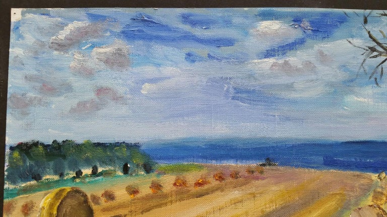 20th Century French Oil Painting Hay Rolls in a Coastal Field Blue Sea For Sale 3