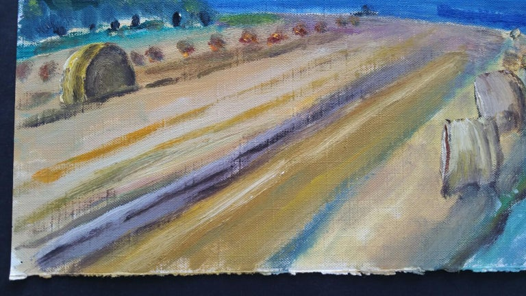20th Century French Oil Painting Hay Rolls in a Coastal Field Blue Sea For Sale 4