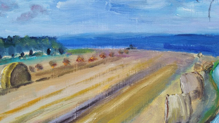 20th Century French Oil Painting Hay Rolls in a Coastal Field Blue Sea For Sale 5