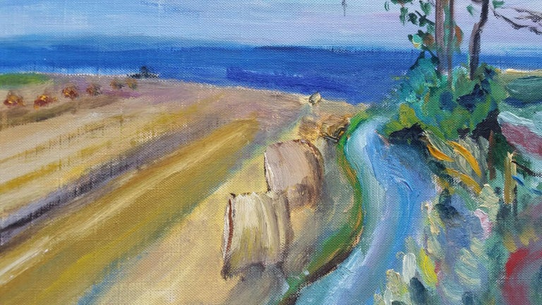 20th Century French Oil Painting Hay Rolls in a Coastal Field Blue Sea For Sale 6
