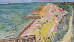 20th Century French Oil Painting High Summer Coastline