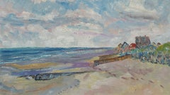 20th Century French Oil Painting Late Summer Beach