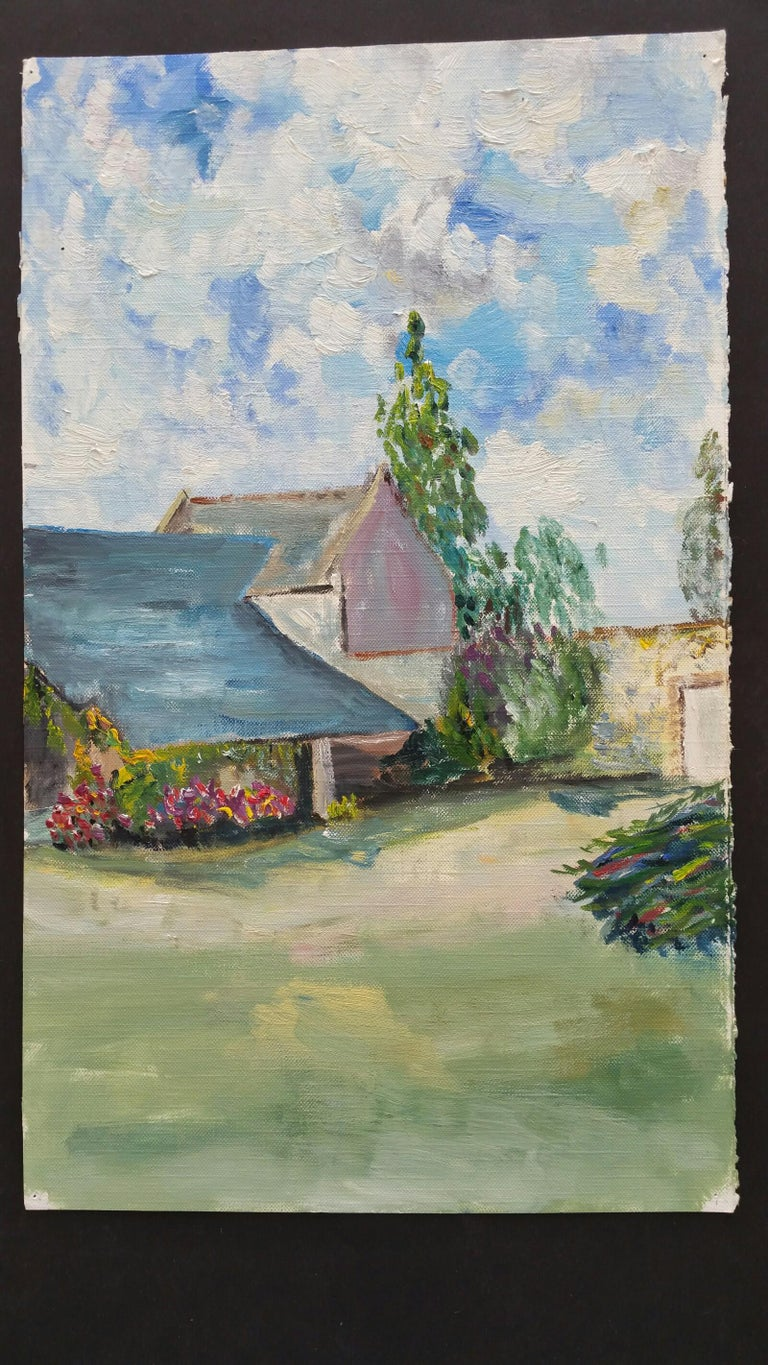 A Provence Farm Garden French School, mid-late 20th century unsigned oil painting on canvas textured paper (reverse side is smooth, the painted side looks and feels as canvas), unframed overall 15 x 9 inches  A summer scene of farm buildings in