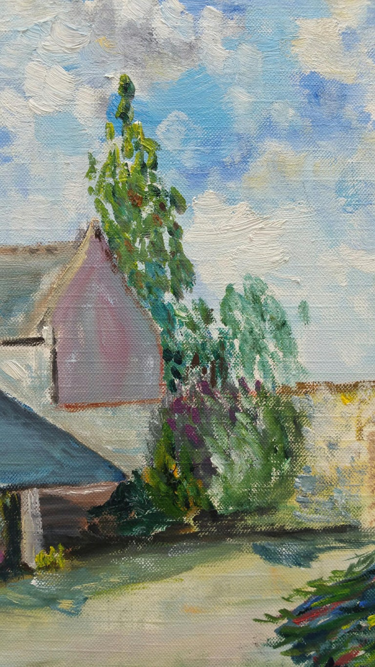20th Century French Oil Painting Provence Farm Garden For Sale 1