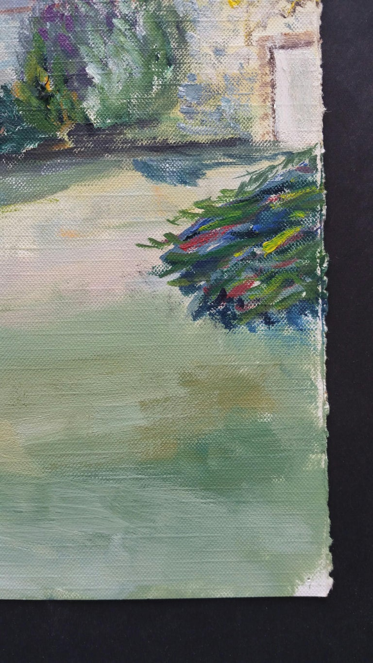 20th Century French Oil Painting Provence Farm Garden For Sale 5