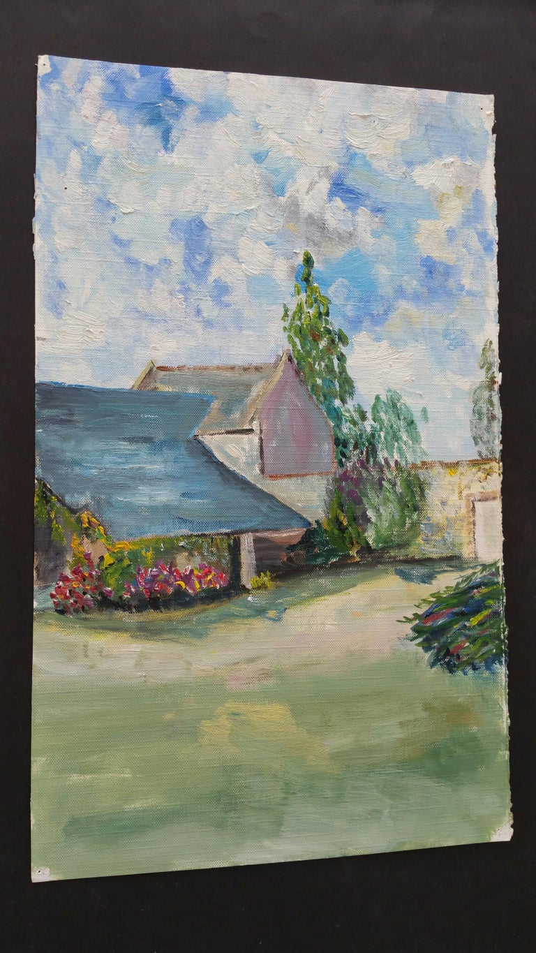 20th Century French Oil Painting Provence Farm Garden For Sale 7