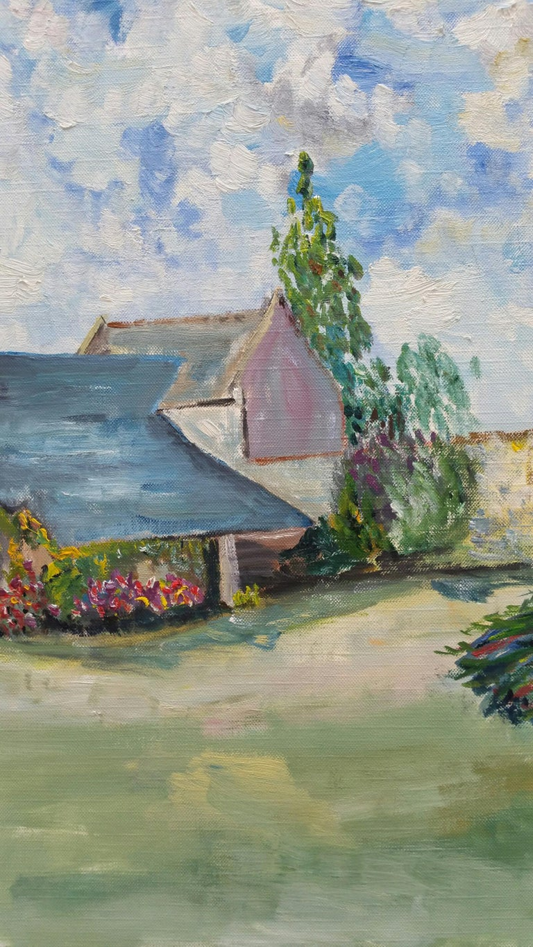 French School Landscape Painting - 20th Century French Oil Painting Provence Farm Garden