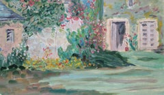 20th Century French Oil Painting Provence House Garden