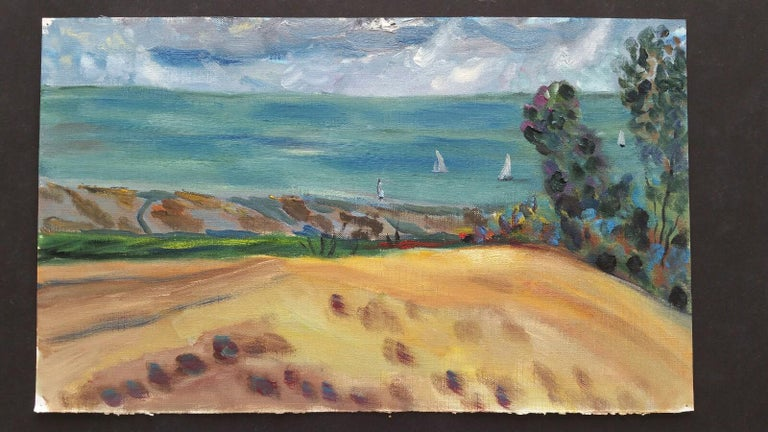 Sails below the Hay Field French School, mid-late 20th century unsigned oil painting on canvas textured paper (reverse side is smooth, the painted side looks and feels as canvas), unframed overall 9 x 15 inches  Distant white sails bob about on an