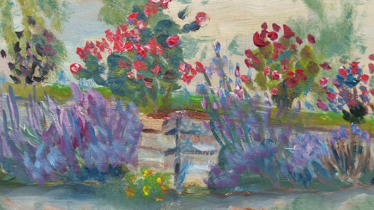 20th Century French Oil Painting Summer Garden Border For Sale 8
