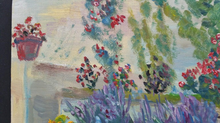 20th Century French Oil Painting Summer Garden Border For Sale 9