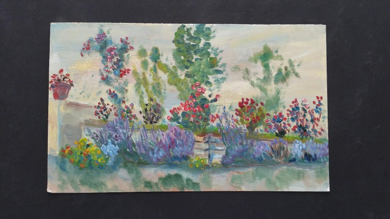 20th Century French Oil Painting Summer Garden Border For Sale 1