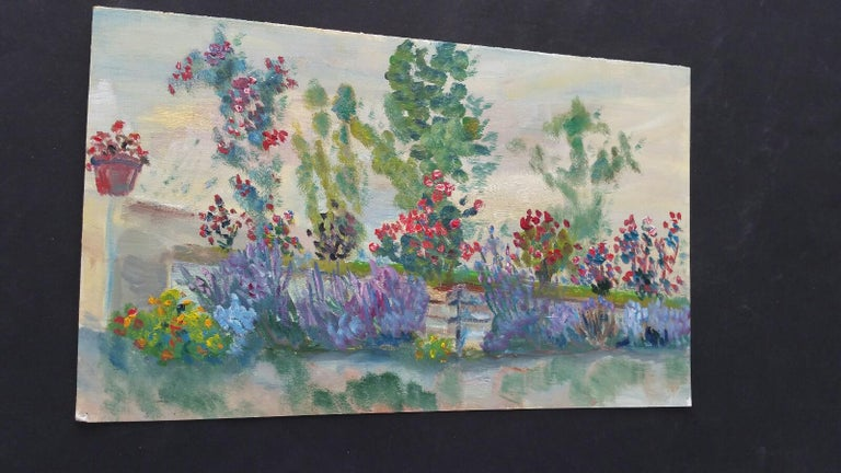 20th Century French Oil Painting Summer Garden Border For Sale 2