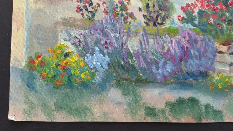 20th Century French Oil Painting Summer Garden Border For Sale 3