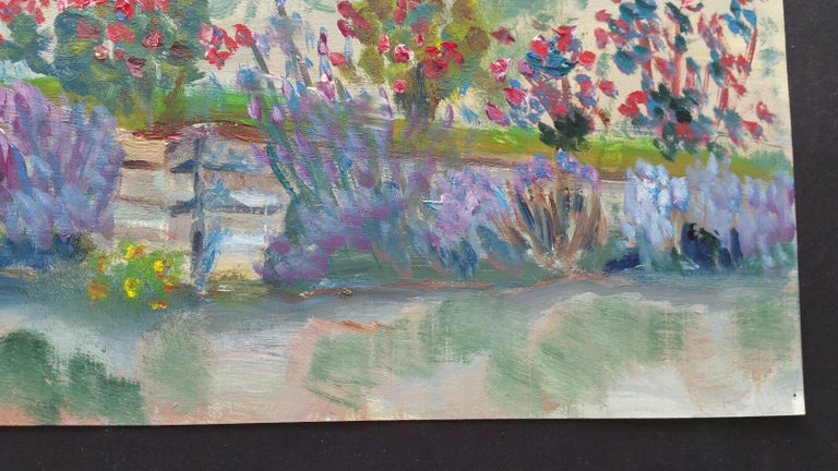 20th Century French Oil Painting Summer Garden Border For Sale 4