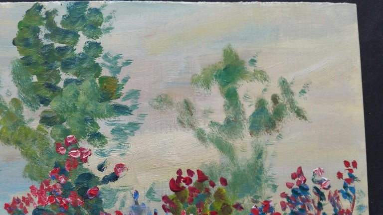 20th Century French Oil Painting Summer Garden Border For Sale 5