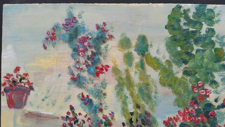 20th Century French Oil Painting Summer Garden Border For Sale 6