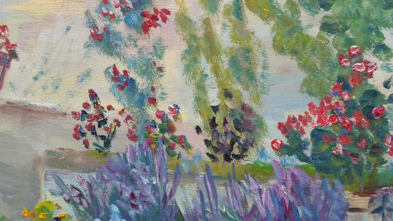 20th Century French Oil Painting Summer Garden Border For Sale 7