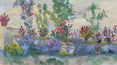 20th Century French Oil Painting Summer Garden Border