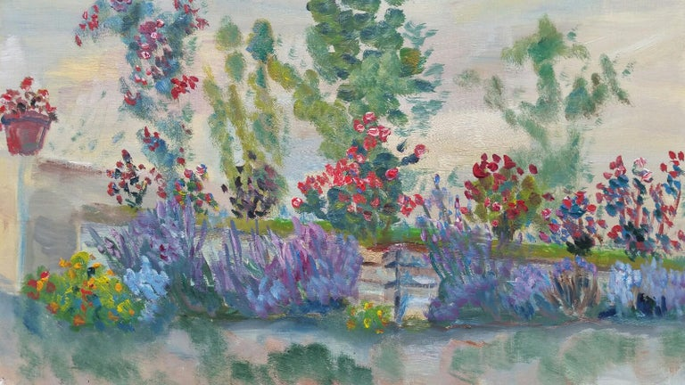 French School Landscape Painting - 20th Century French Oil Painting Summer Garden Border