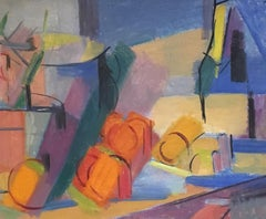 Abstract Colourful Still Life, Cubism, Original Oil Painting