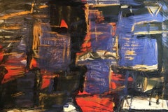 Abstract Oil Painting, Purple, Gold and Red Colour