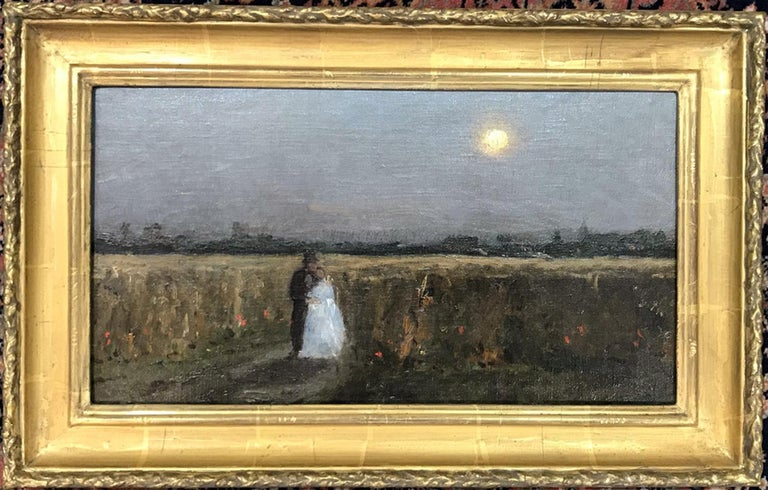 French School Nineteenth Century A Summers Evening Oil on canvas, laid on mahogany panel Image size: 8 ½ x 15 ¾ inches Hand made gilt frame  On a summers evening the newly weds stroll back in the moonlight, from the fair that can be seen in the