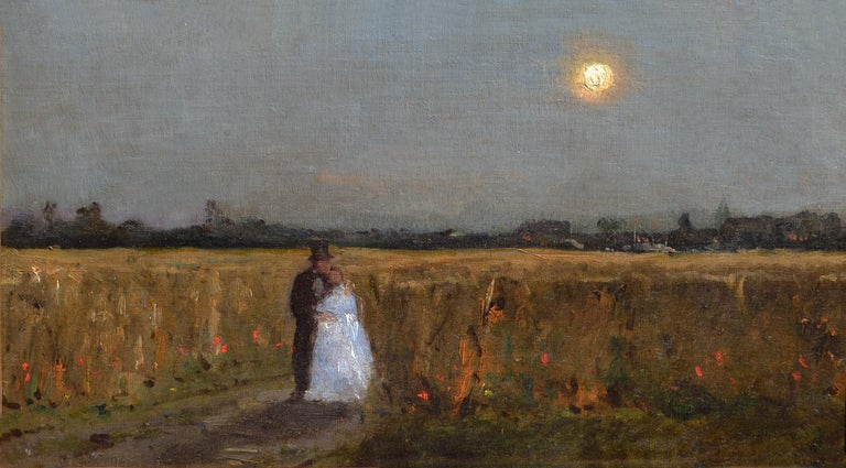 French School, Nineteenth Century, A Summers Evening - Painting by French School